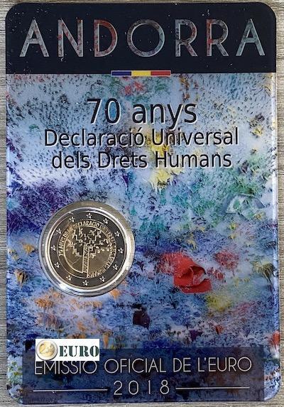 2 euros Andorre 2018 - 70 ans Droits de l'Homme BU FDC Coincard