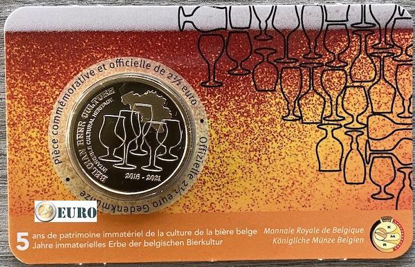 2,50 euros Belgique 2021 - Culture de la bière 5 ans héritage BU FDC Coincard FR