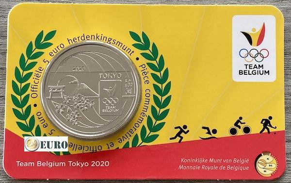 5 euros Belgique 2021 - Team Belgium Tokyo BU FDC Coincard en relief
