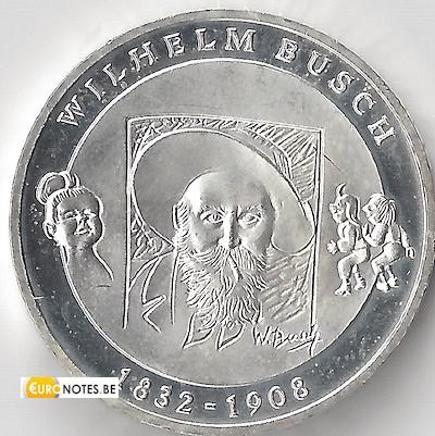 Allemagne 2008 - 10 euros D Wilhelm Busch BU FDC