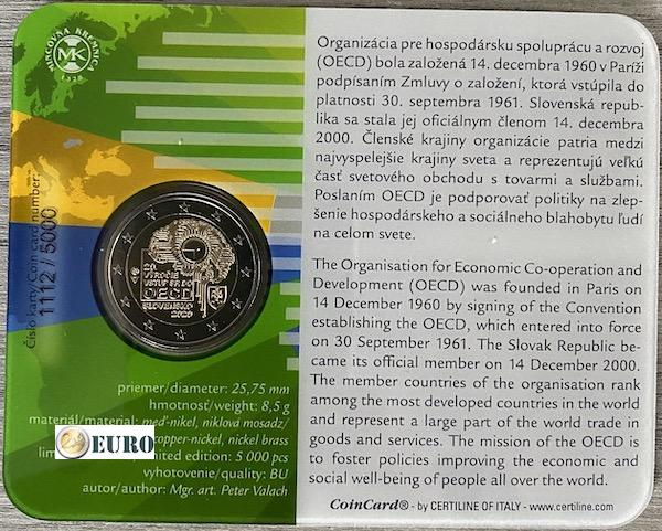2 euros Slovaquie 2020 - Adhésion à l'OCDE BU FDC Coincard