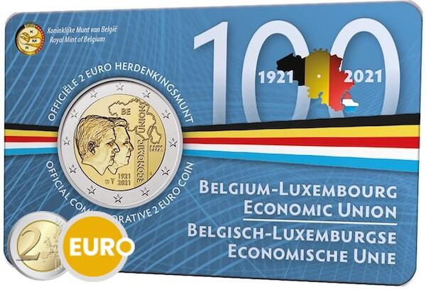2 euros Belgique 2021 - 100 ans UEBL BU FDC Coincard NL
